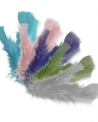 Dekorationsfjädrar Pastell - 5-pack