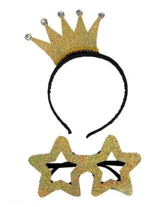 Diadem med Krona och Glasögon Guld