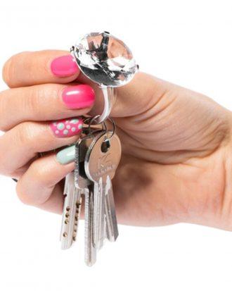Diamantring Nyckelring - Transparent
