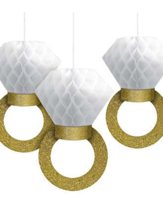 Diamantringar Honeycombs Hängande Dekoration - 3-pack