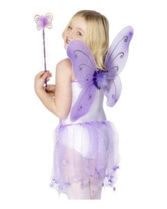 Fjärilsvingar & Stav Barn - Lila
