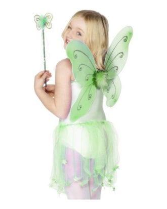 Fjärilsvingar & Stav Barn - Grön