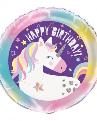 Folieballong Enhörning Happy Birthday Lila - 1 pack