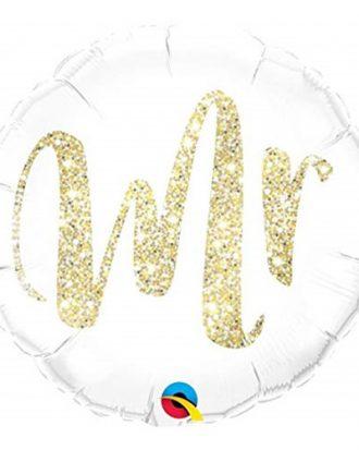 Folieballong Rund Mr Glitter Guld