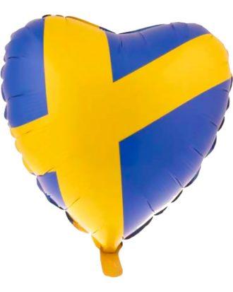 Folieballong Sverige Hjärtformad