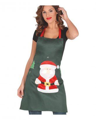 Förkläde Grön med Jultomte - One size