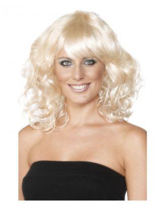 Foxy Blond Lockig Peruk - One size