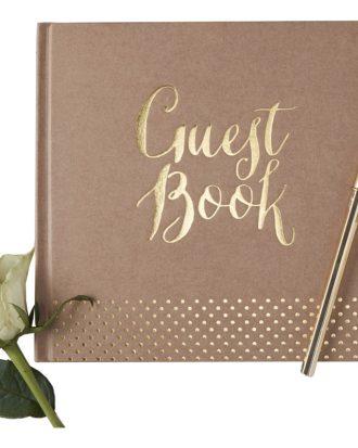 Gästbok Bröllop Brun/Guld