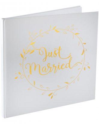 Gästbok Just Married Vit/Guld