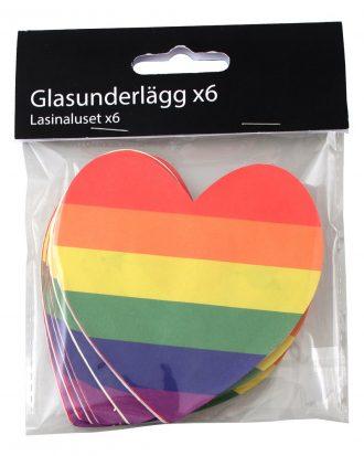 Glasunderlägg Hjärta Pride - 6-pack