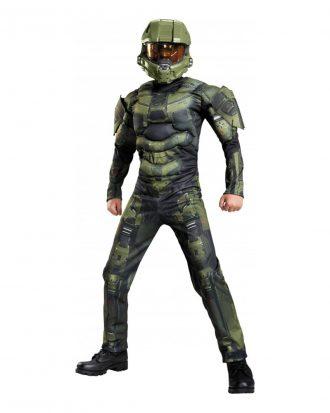 Halo Master Chief med Muskler Barn Maskeraddräkt - Large