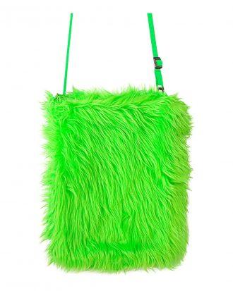 Handväska Fluffig Neon Grön