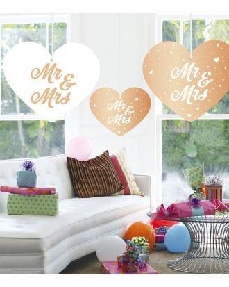 Hängande Dekoration Hjärtan Mr & Mrs - 5-pack