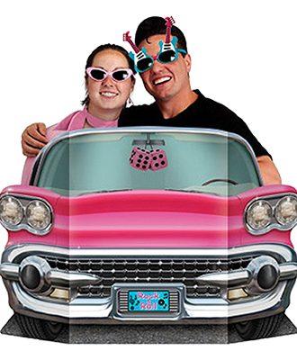 Kartongfigur 50-tals Rosa Cab Foto Prop