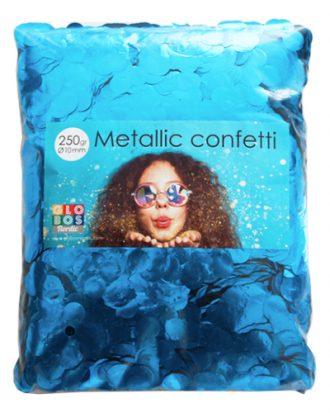 Konfetti Blå Metallic Runda - 250 gram