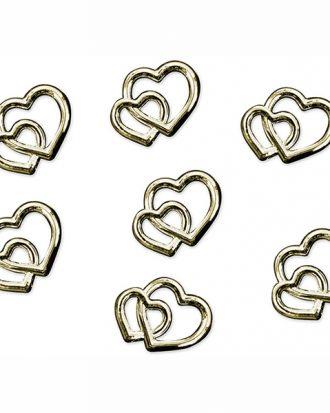 Konfetti Dubbla Hjärtan Guld - 25-pack