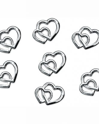 Konfetti Dubbla Hjärtan Silver - 25-pack