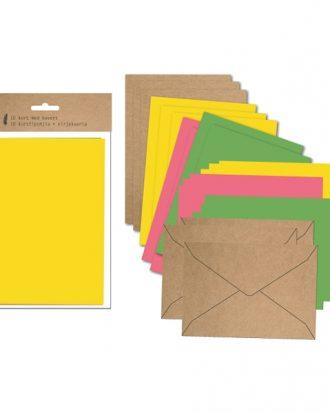 Kort med Kuvert Färgmix - 10-pack