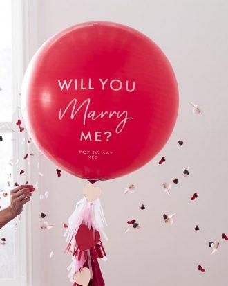 Latexballong Will You Marry Me Röd