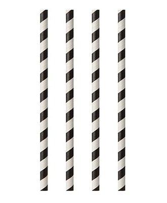 Milkshakesugrör av Papper Svarta Randiga - 100-pack