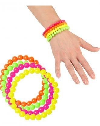Neonfärgade Pärlarmband - 4-pack