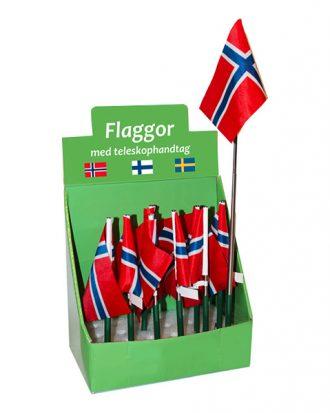 Norsk Flagga med Teleskophandtag