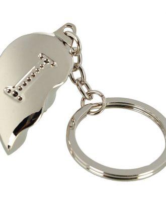 Nyckelring Halvt Hjärta med Bokstav - Bokstav I