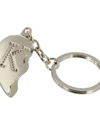 Nyckelring Halvt Hjärta med Bokstav - Bokstav K