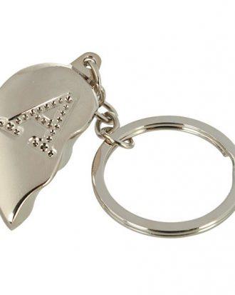 Nyckelring Halvt Hjärta med Bokstav - Bokstav A