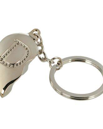 Nyckelring Halvt Hjärta med Bokstav - Bokstav D