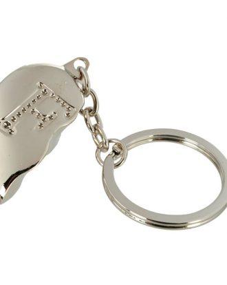 Nyckelring Halvt Hjärta med Bokstav - Bokstav F