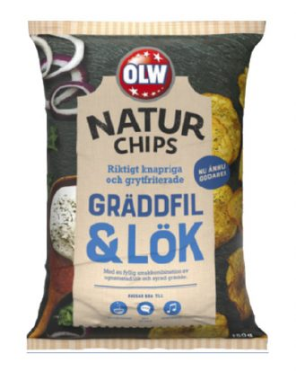 OLW Naturchips Gräddfil & Lök - 150 gram