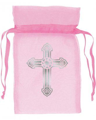 Organzapåsar med Kors Ljusrosa - 12-pack