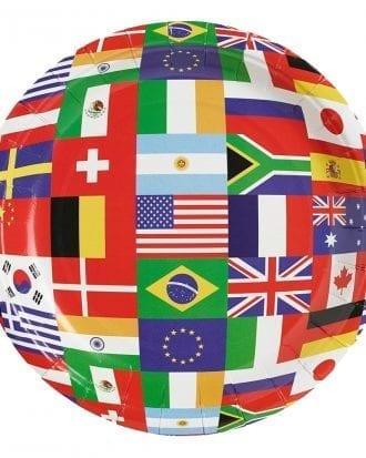 Pappersassietter Internationella Flaggor - 8-Pack