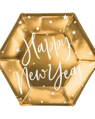 Pappersassietter Happy New Year Guld Hexagon Celebrate - 6-pack