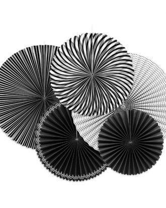 Pappersfjädrar Svart/Vit Mix Hängande Dekoration - 5-pack