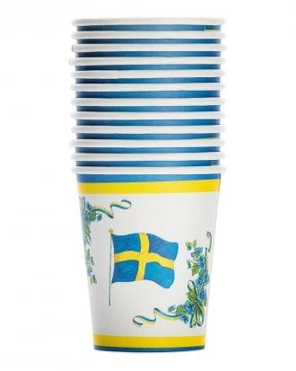 Pappersmuggar Svenska Flaggan - 12-pack