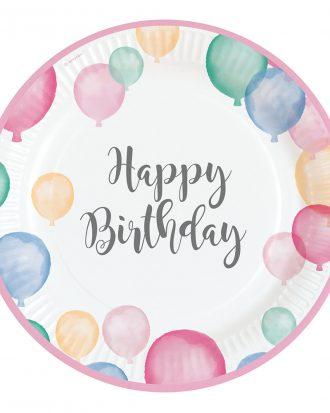 Papperstallrikar Pastell Happy Birthday - 8-pack