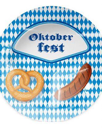 Papptallrikar Oktoberfest 3-delad - 8-pack