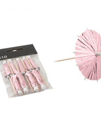 Partyparasoll Ljusrosa Metallic - 10-pack