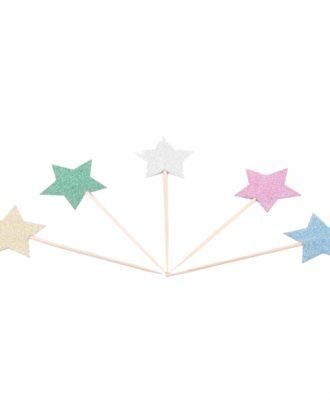 Partypicks Glitterstjärnor - 10-pack