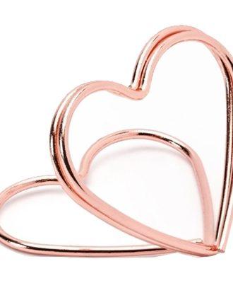 Placeringskortshållare Hjärtan Roséguld - 10-pack