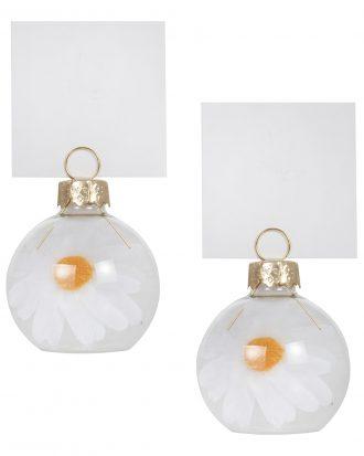 Placeringskortshållare Glaskulor med Daisyblommor