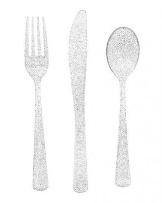 Plastbestick Silver Glitter - 18-pack