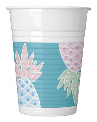 Plastmuggar Ananas - 8-pack