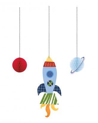 Rymdraket & Planet Honeycomb Hängande Dekoration - 3-pack