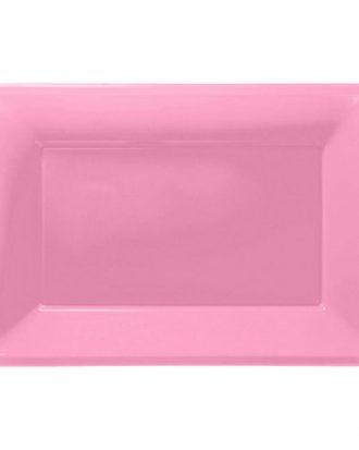 Serveringsfat i Plast Rektangel Ljusrosa - 3-pack
