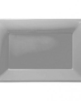 Serveringsfat i Plast Rektangel Silver - 3-pack