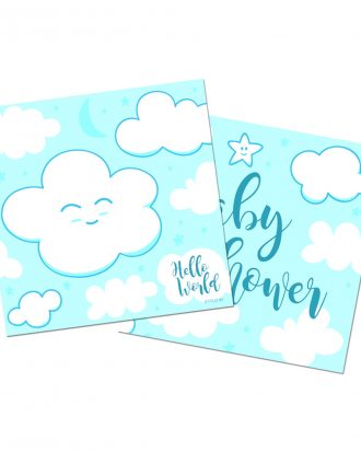 Servetter Babyshower Ljusblå - 20-pack