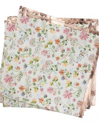 Servetter Blommor Roséguld - 16-pack